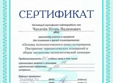 Сертификат Чихачёв 5