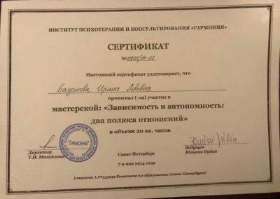 Сертификат Ирина Баданова 12