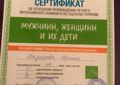 Сертификат Ирина Баданова 13
