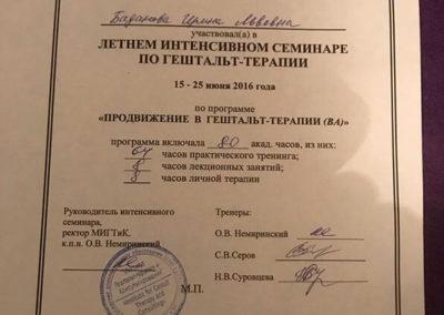 Сертификат Ирина Баданова 14
