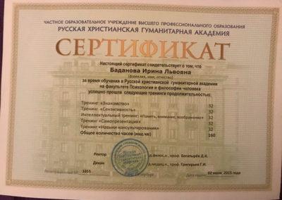 Сертификат Ирина Баданова 17